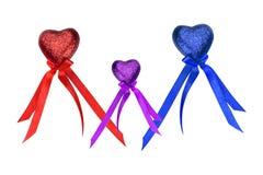 Trois coeurs colorés du jour de Valentine Photos stock