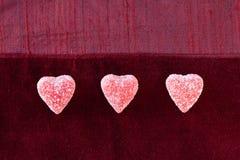 Trois coeurs de sucrerie de sucre Images libres de droits