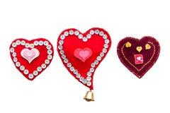 Trois coeurs faits de tissu faits main Images libres de droits