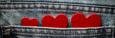 Trois coeurs rouges photographie stock