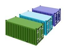 Trois conteneurs de marchandises sur un fond blanc Image stock