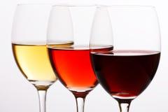 Trois couleurs de vin Photographie stock libre de droits