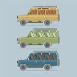 Trois couleurs différentes de jeep Image stock