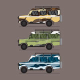 Trois couleurs différentes de jeep de camouflage Photo stock