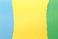 Trois couleurs, vert, jaune, bleu images stock