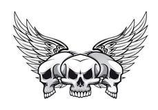 Trois crânes avec des ailes illustration libre de droits