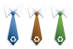 Trois cravates d'homme d'affaires avec réutilisent des symboles. Image libre de droits