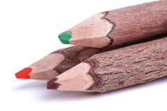 Trois crayons en bois Images stock