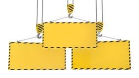 Trois crochets de grue avec les plaques jaunes blanc illustration stock