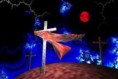 Trois croix dans la tempête de fractale Images libres de droits