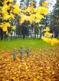 Trois croix de pierre tombale. Photographie stock