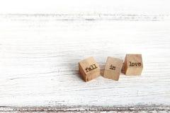 Trois cubes en bois avec des mots Photos libres de droits