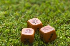 Trois cubes en matrices sur le fond d'herbe Photographie stock libre de droits