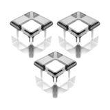 Trois cubes en verre blancs Photo stock