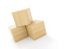 Trois cubes faits de bois illustration de vecteur