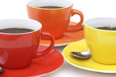 Trois cuvettes de café. Photographie stock