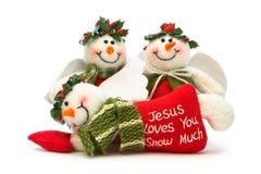 Trois décorations de bonhomme de neige de Noël Images libres de droits