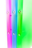 Trois dépliants multicolores Images libres de droits