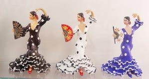 Trois danseurs féminins ornementaux de flamenco photographie stock