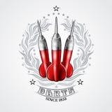 Trois dards rouges au centre de la guirlande argentée de laurier Logo de sport pour tout jeu ou championnat de dards illustration libre de droits