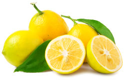 Trois demi citrons et entiers sur un fond blanc Photographie stock libre de droits