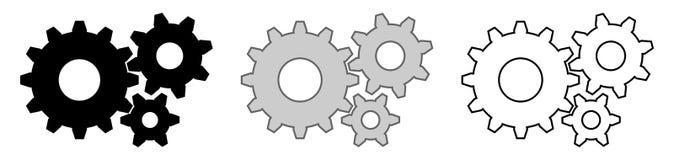 Trois 6 dents des vitesses 12, 8 et Version grise et blanche noire, c illustration stock