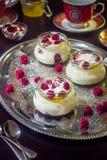 Trois desserts sur le Tableau Images libres de droits