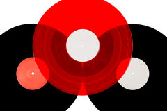 Trois disques vinyle sur le fond blanc images libres de droits