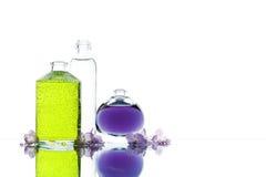 Trois diverses bouteilles avec le liquide et les fleurs de couleur Photos libres de droits