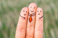 Trois doigts heureux Image libre de droits