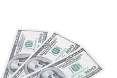 Trois 100 dollars de billets verts Image libre de droits