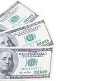 Trois 100 dollars de billets verts Photographie stock libre de droits