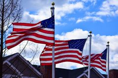 Trois drapeaux américains soufflant dans le vent image stock