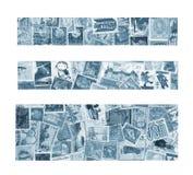 Trois drapeaux bleus Photographie stock
