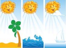 Trois drapeaux d'été avec le soleil de sourire illustration libre de droits