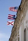 Trois drapeaux de Castillo San Cristobal Photographie stock libre de droits