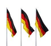 Trois drapeaux de l'Allemagne Image stock