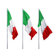 Trois drapeaux de l'Italie Images libres de droits