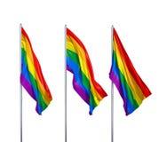 Trois drapeaux du LGBT Photos stock