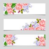 Trois drapeaux floraux Photo libre de droits