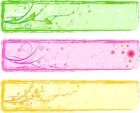 Trois drapeaux floraux abstraits colorés Image stock