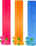 Trois drapeaux grunges avec des roses Photographie stock libre de droits