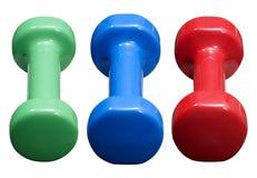 Trois Dumbells Photographie stock libre de droits