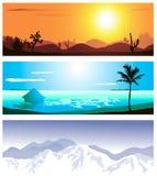 Trois emplacements géographiques Photo libre de droits