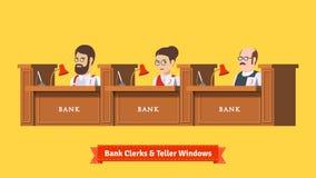 Trois employés de banque au travail illustration de vecteur