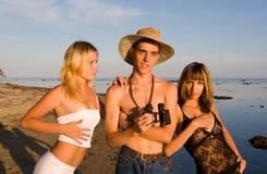 Trois en mer Photo libre de droits