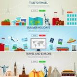 Trois en-têtes de voyage et de tourisme, bannières Vacances d'été, voyage et concept de tourisme Calibres de site Web Vecteur Photo stock