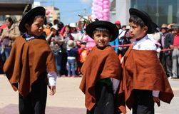 Trois enfants andins Image stock