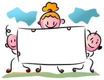 Trois enfants avec une bannière illustration libre de droits