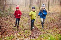 Trois enfants courant par la région boisée d'hiver photos stock